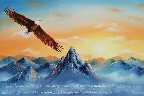 Adler - Adlerflügel - mit Flügeln wie Adler - Öl-Gemälde