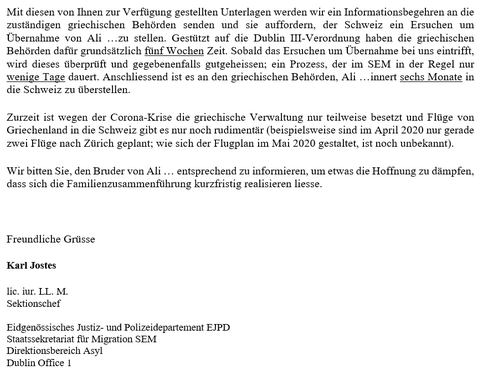 Letter from the Federal Office for Migration & Refugees in Switzerland
