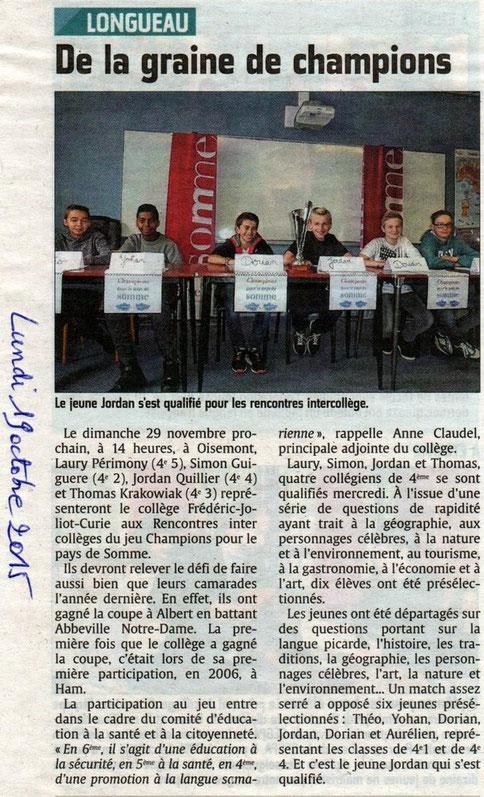 Collège de Longueau - Article du Courrier Picard - Octobre 2015