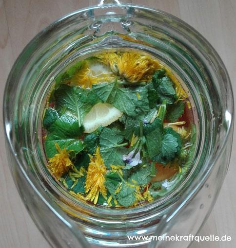 Kraftquelle, Wildkräuterlimonade, Kräuterlimonade, selbstgemachte Limonade, Naturapotheke, Natur pur, selbstgemachtes aus Wildkräutern, natürliche Zutaten
