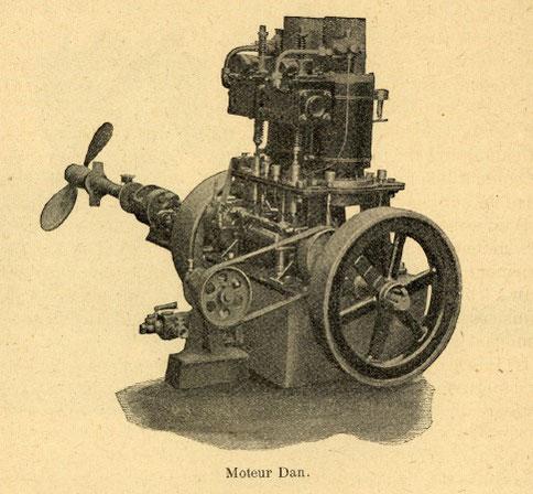 Moteur DAN à pétrole  (almanach du marin Breton 1907)