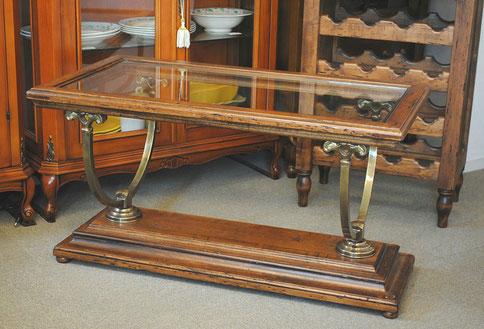 ローテーブル おしゃれ コーヒーテーブル センター テーブル カクテルテーブル 木製 ガラス イタリア製 古木 真鍮 カパーニ アンティーク CAPANNI
