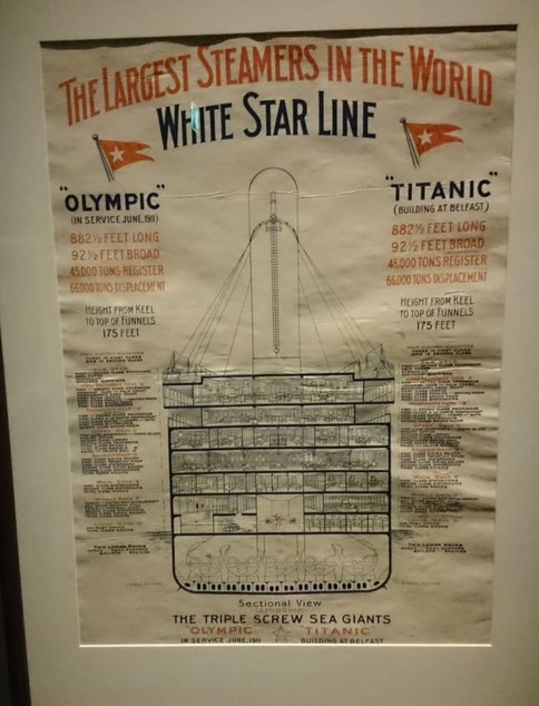 "White Starline poster showing a sectional drawing of the ""Olympic"" and the ""Titanic"""