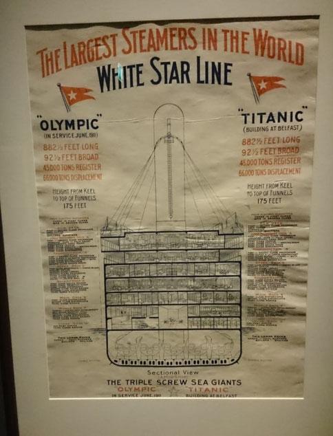"""Plakat der White Starline mit Schnittdarstellung der Schiffe """"Olympic"""" und """"Titanic"""""""
