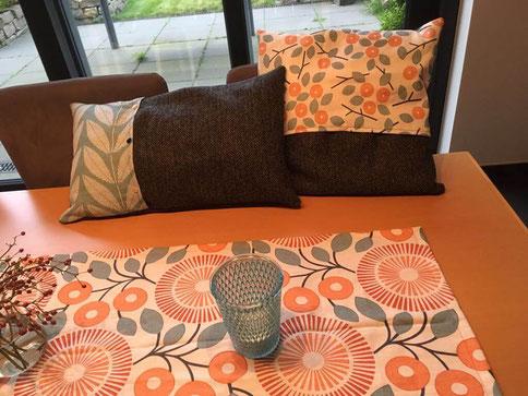Kissen und Tischläufer aus Harris Tweed und Leinen