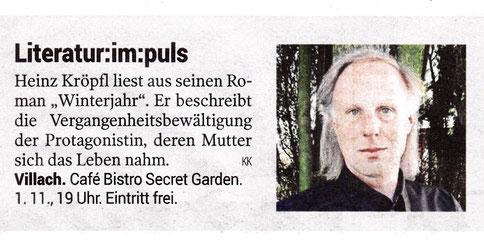 Buchvorstellung Heinz Kröpfl Roman Winterjahr Villach BUCH13