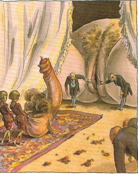 Der Einzug des Herrschers. Satirische Zeichnung um 1900