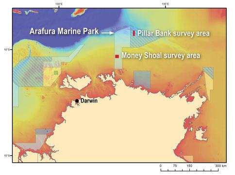 Survey locations in the Arafura Marine Park. Credit: Geoscience Australia
