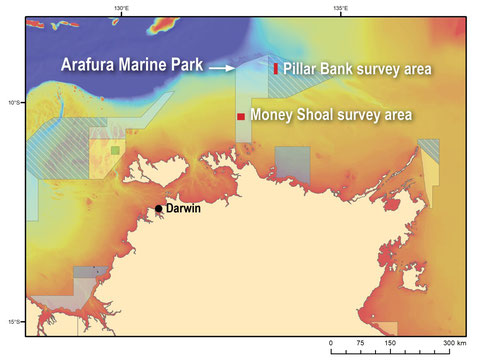 Survey locations in the Arafura Marine Park. Credit: Geoscience Australia