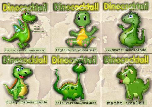 Dinosaurier-Flaschenetiketten (Texte am PC ergänzen)
