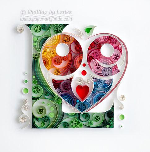 quilling, quilling art, paper, paper art, design, wall art, quilling wall art, love, love art, love artwork,  Etsy, любовь, квиллинг, бумага, дизайн