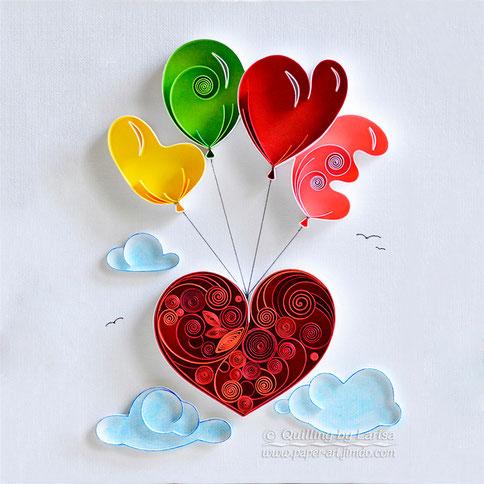 quilling, quilling art, paper, paper art, design. wall art, quilling wall art, love,  love, love art, artwork, clouds, heart, quilling heart, paper heart,  любовь, любовь, квиллинг, бумага, дизайн