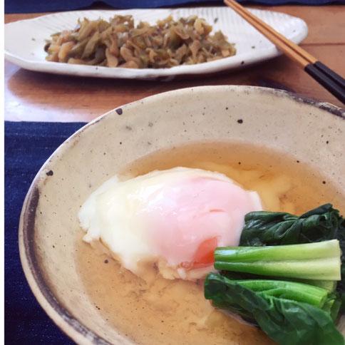 温泉卵 ほうれん草 土鍋 料理 ゆで野菜 出汁つゆ 茨城県笠間市 陶芸家 ブログ