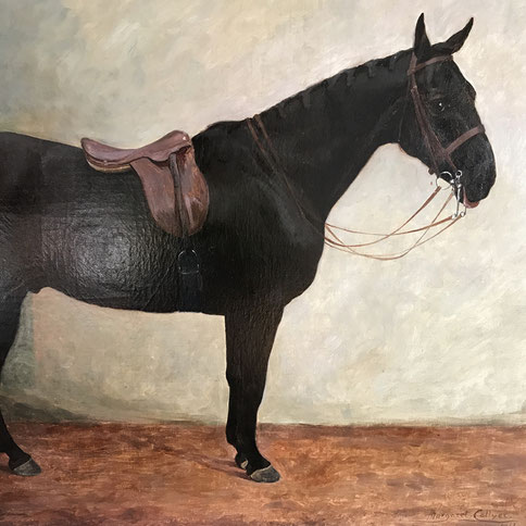 Dark Bay horse in a stable by Margaret Collyer 1912