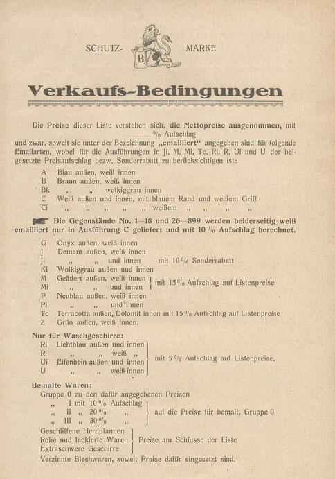 Emailfabren im Katalog 1921