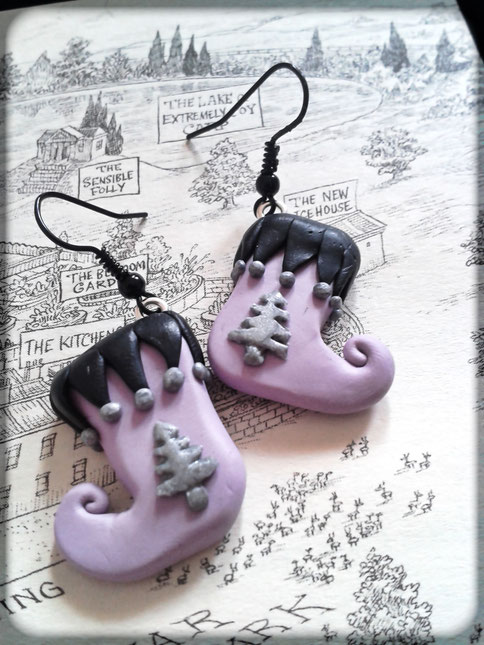Pastel Goth Christmas Stocking Earrings