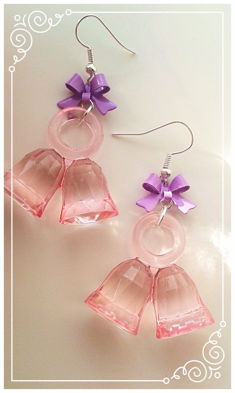 Pink Christmas Bell earrings with Purple bows