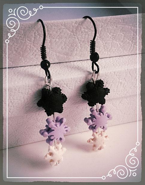 Pastel Goth Christmas Snowflake earrings