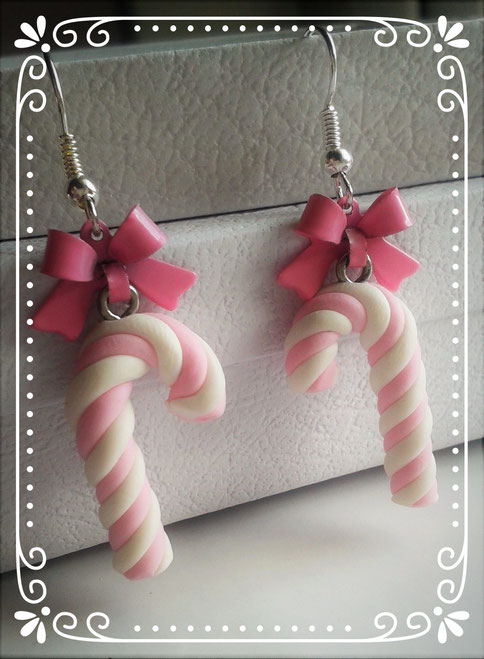 Pink & White Christmas Candy Cane earrings