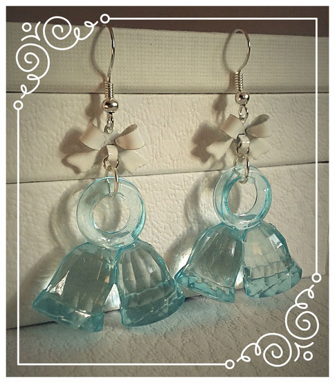 Blue Christmas Bell earrings with White bows