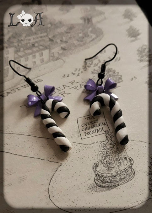 Black and White Candy Cane Earrings