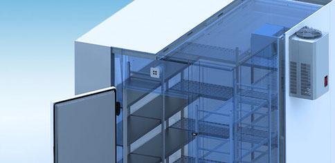 NARR Kühlzellen und Tiefkühlzellen. Zuverlässige, sichere Lagerung und Kühlung für Lebensmittel und Getränke. Für Gewerbe, Gastronomie, Grossküchen, Hotellerie. Beratung, Planung und Installation von Kälte Klima Grässlin, Eimeldingen, nahe Basel, Schweiz