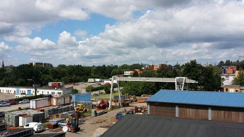 Blick vom Gewerbehof Jaffe 12 auf das Entwicklungsgebiet