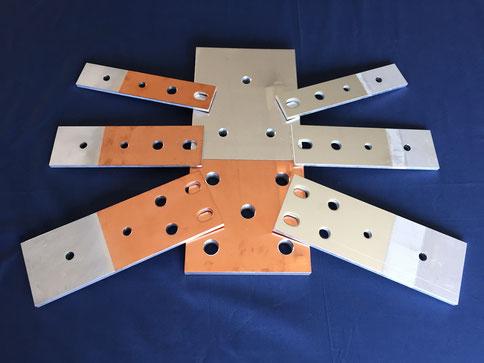 爆着クラッド モールド変圧器等の二次端子 両面銅皮アルミ