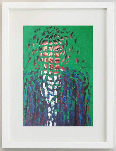 6 / PAOLO AVANZI, Uomo con vestito blu su sfondo verde, 2020, acrilico, 20 x 30
