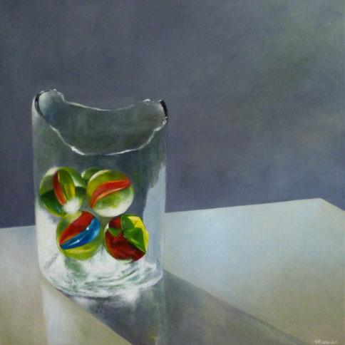 Glas Murmeln  in zerbrochenem Glas Ölgemälde