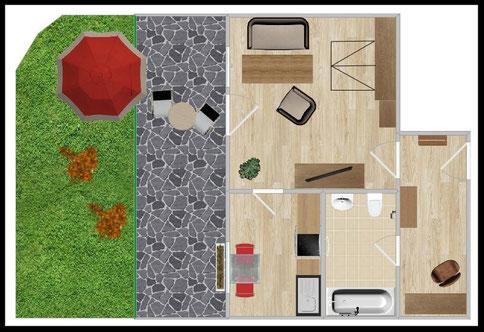 "Groundplan - 1,5-room-apartment Nr. 3 - ""Adele"""