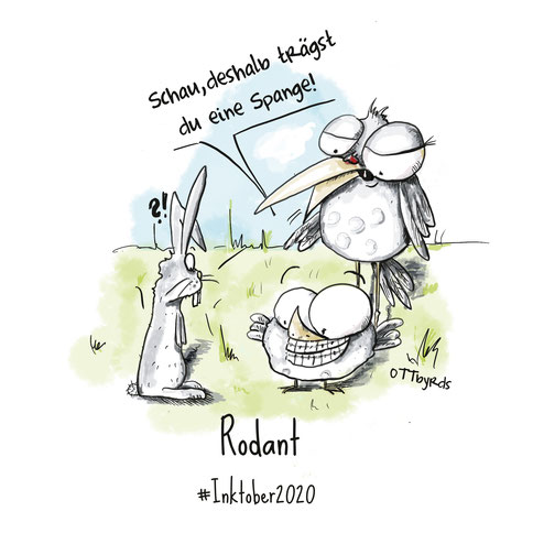rodant, inktober2020, tag6, day6, ottbyrds, zähne, zahnspange, kieferorthopäde, kaninchen, sweet bunny, teeth