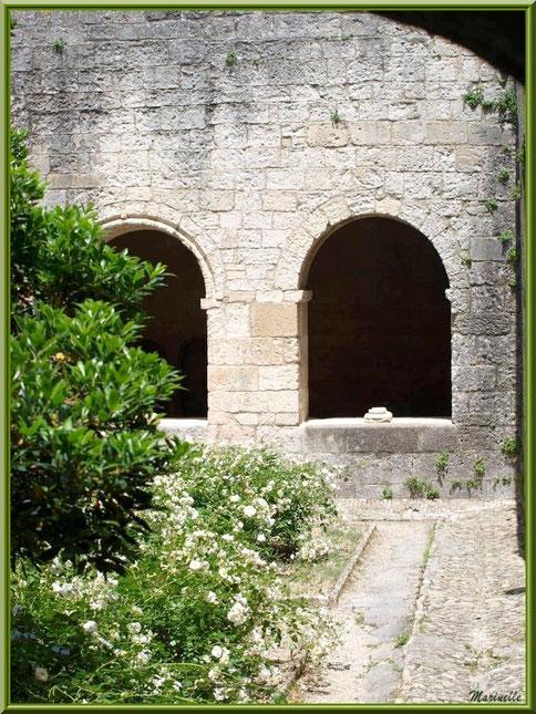 Depuis le jardin intérieur du cloître de l'abbaye de Silvacane, vue sur deux baies du cloître avec un vestige d'un pied de colonnette, Vallée de la Basse Durance (13)