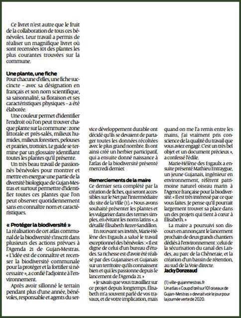 """Article Journal Sud-Ouest du 30 août 2019 au sujet de l'album herbier de la biodiversité """"Coup d'œil sur 100 et une plantes de Gujan-Mestras""""  (Bassin d'Arcachon - 33)"""