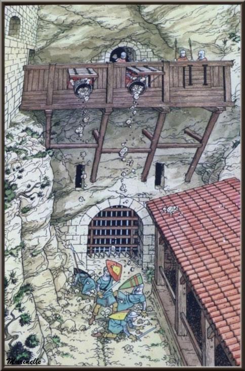 Trou aux Lièvres, Château des Baux-de-Provence, Alpilles (13) - gravure château