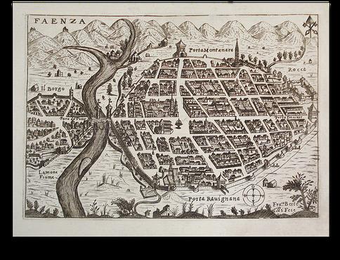 Pianta di Faenza. Incisione su rame di Francesco Bertelli - 1629