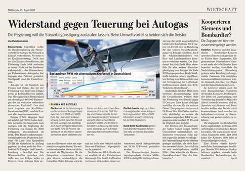 Zeitungsartikel Autogas Steuer