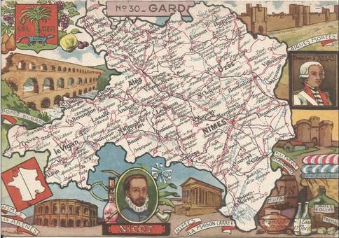 Recto d'une carte postale timbrée envoyée depuis le Gard