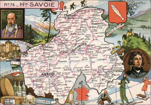 Recto d'une carte postale timbrée au dos envoyée depuis la Haute-Savoie
