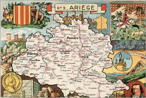 Recto d'une carte postale timbrée envoyée depuis l'Ariège