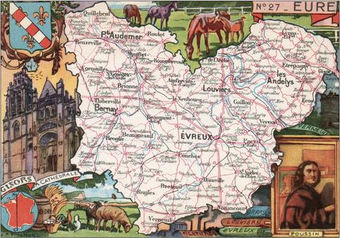 Recto d'une carte postale timbrée envoyée depuis l'Eure