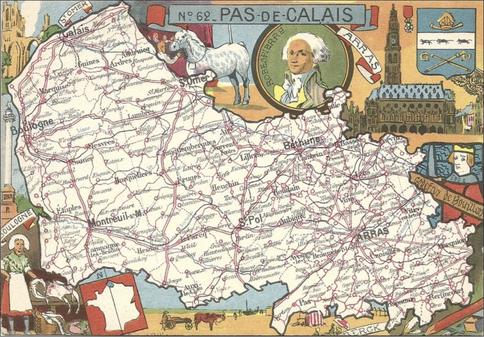 Recto d'une carte postale timbrée envoyée depuis le Pas-de-Calais
