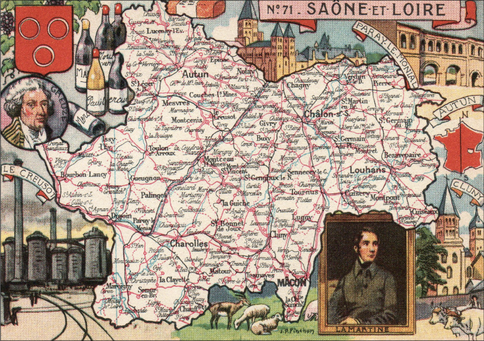 Recto d'une carte postale timbrée au dos envoyée depuis la Saône-et-Loire