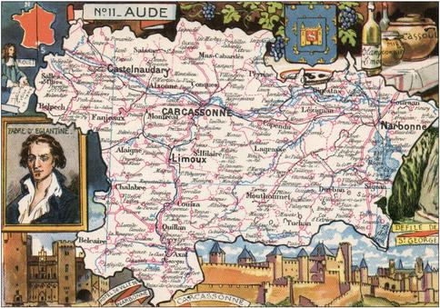 Recto d'une carte postale timbrée envoyée depuis l'Aude