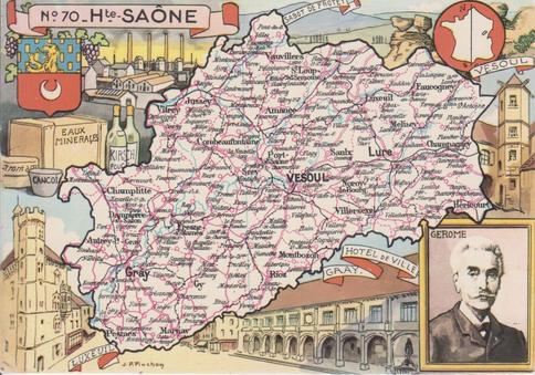 Recto d'une carte postale timbrée au dos envoyée depuis la Haute-Saône
