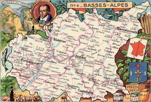 Recto d'une carte postale timbrée au dos envoyée depuis les Alpes de Haute-Provence
