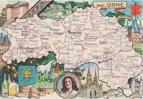 Recto d'une carte postale timbrée envoyée depuis l'Orne