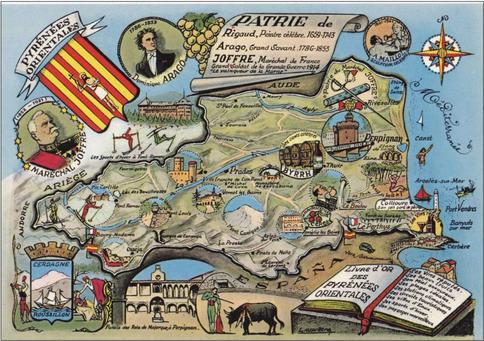 Recto d'une carte postale envoyée depuis les Pyrénées-Orientales