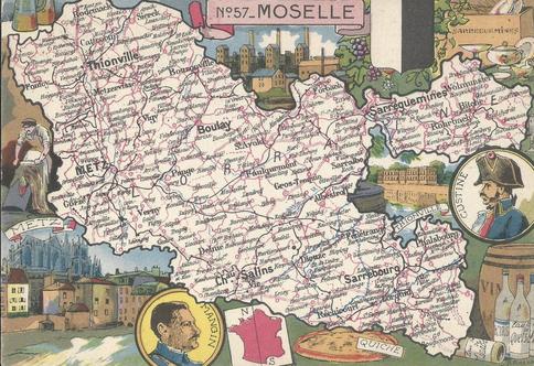Recto d'une carte postale timbrée envoyée depuis la Moselle