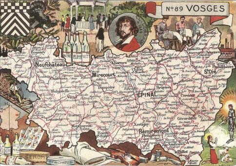 Recto d'une carte postale timbrée au dos envoyée depuis les Vosges
